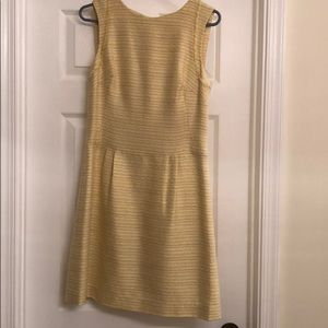 Yellow tweed shift dress